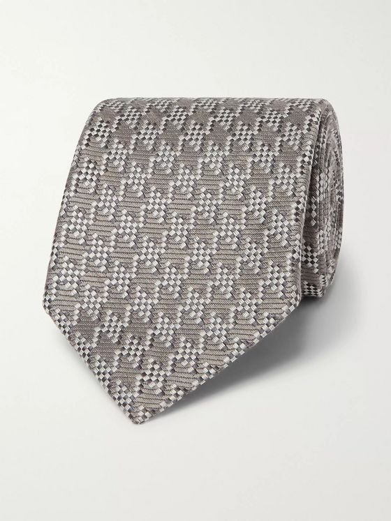 TOM FORD 8cm Houndstooth Silk and Linen-Blend Tie