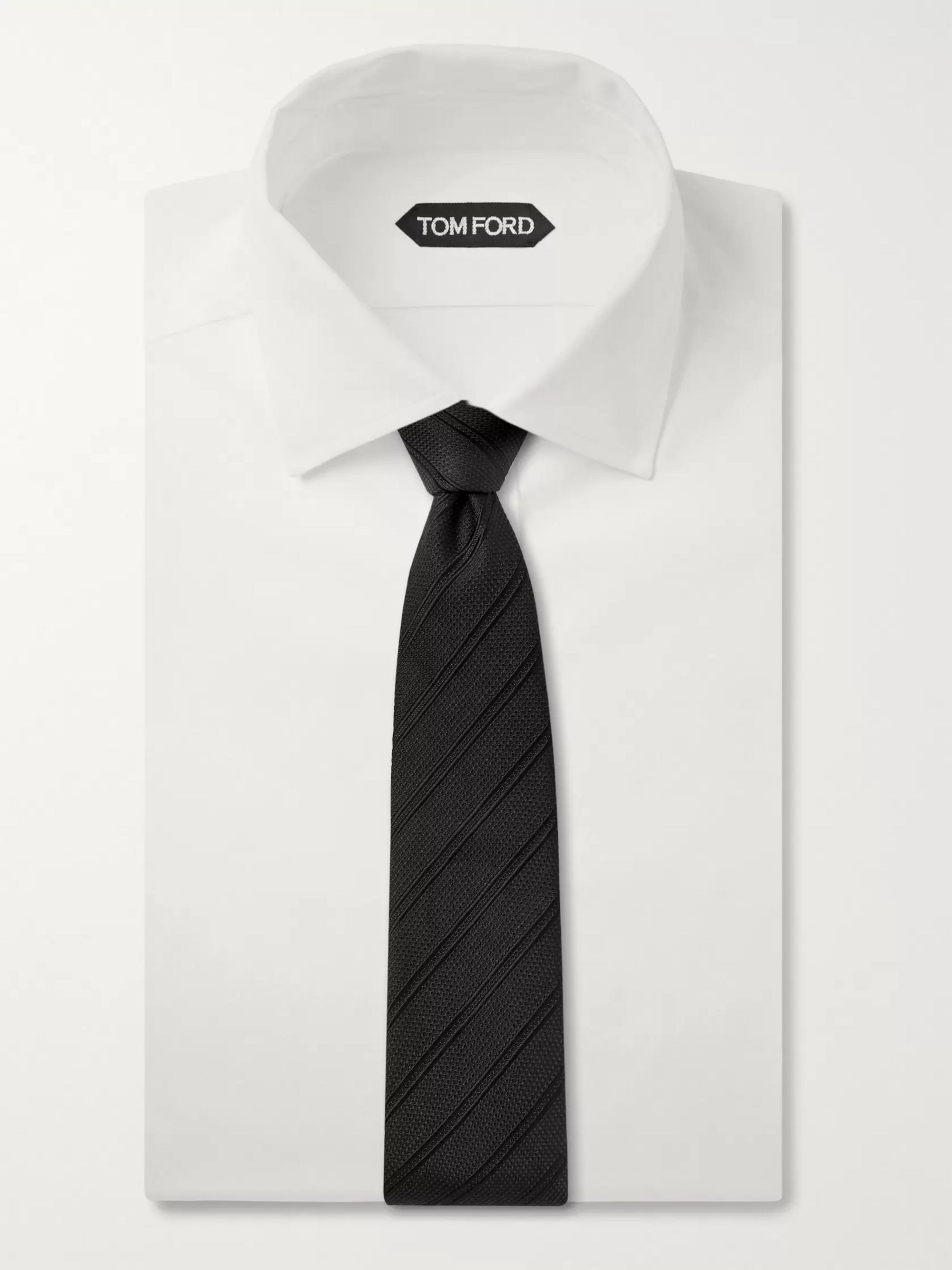 TOM FORD 8cm Striped Silk, Linen and Cotton-Blend Jacquard Tie