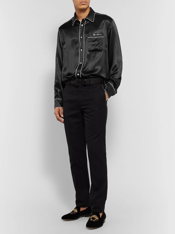 Versace Logo-Embroidered Piped Silk-Satin Western Shirt
