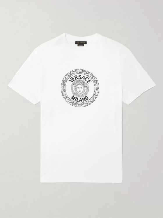 Versace Slim-Fit Logo-Flocked Cotton-Jersey T-Shirt