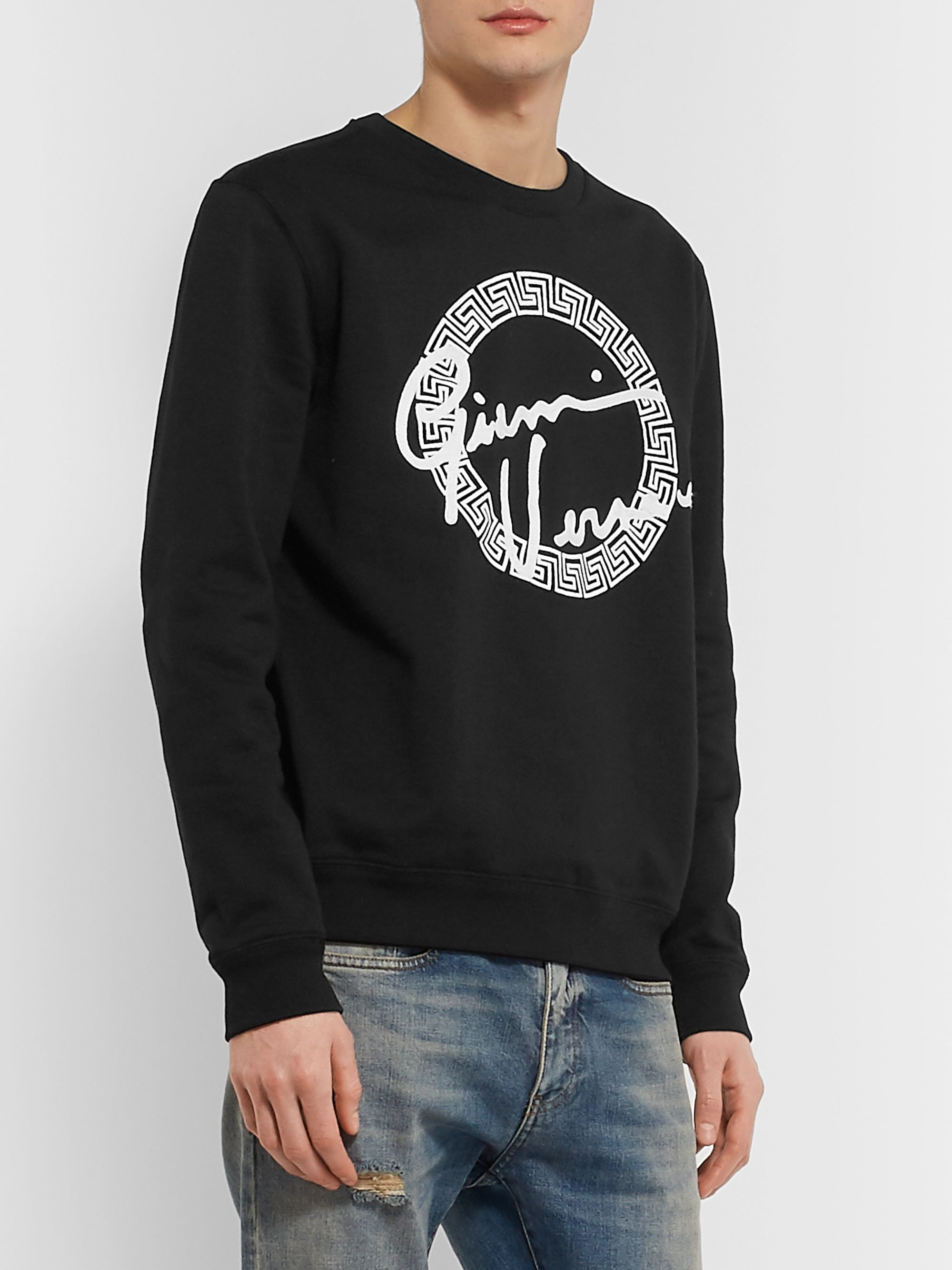 Versace Slim-Fit Logo-Embroidered Fleece-Back Cotton-Jersey Sweatshirt