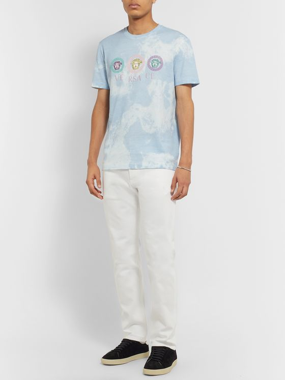 Versace Logo-Embroidered Tie-Dyed Cotton-Jersey T-Shirt
