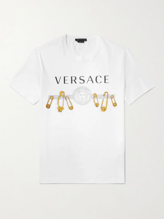 Versace Slim-Fit Embellished Logo-Print Cotton-Jersey T-Shirt