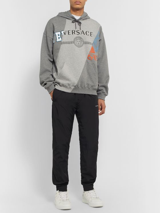 Versace Panelled Printed Fleece-Back Cotton-Jersey Hoodie