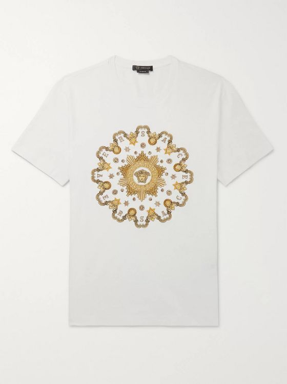 Versace Slim-Fit Metallic Embroidered Cotton-Jersey T-Shirt