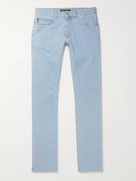 Versace Taylor Skinny Fit Logo-Embroidered Printed Stretch-Denim Jeans