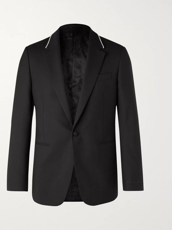 Versace Black Slim-Fit Crystal-Embellished Virgin Wool Blazer