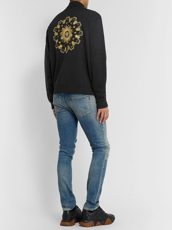 Versace Logo-Embroidered Wool Zip-Up Sweater
