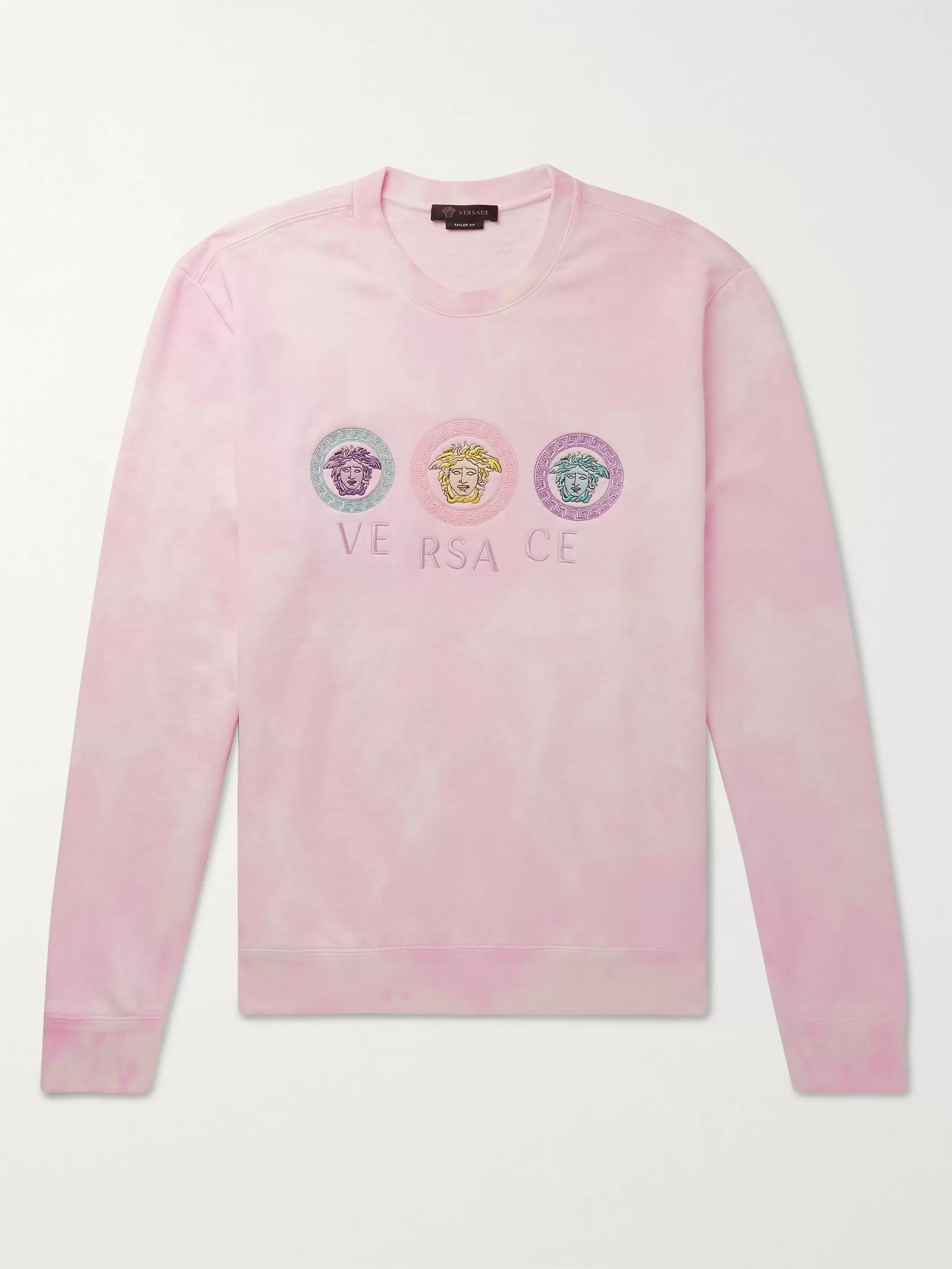 Versace Logo-Embroidered Tie-Dyed Loopback Cotton-Jersey Sweatshirt