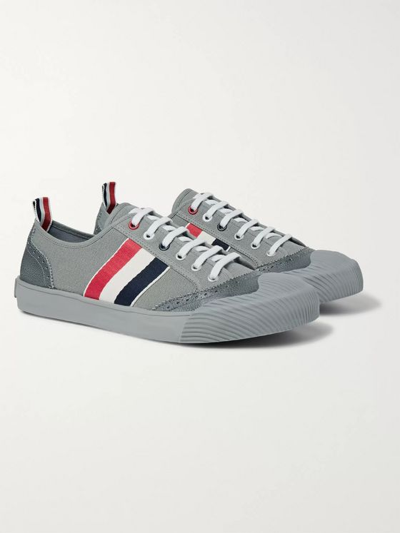 Thom Browne Leather and Grosgrain-Trimmed Canvas Sneakers