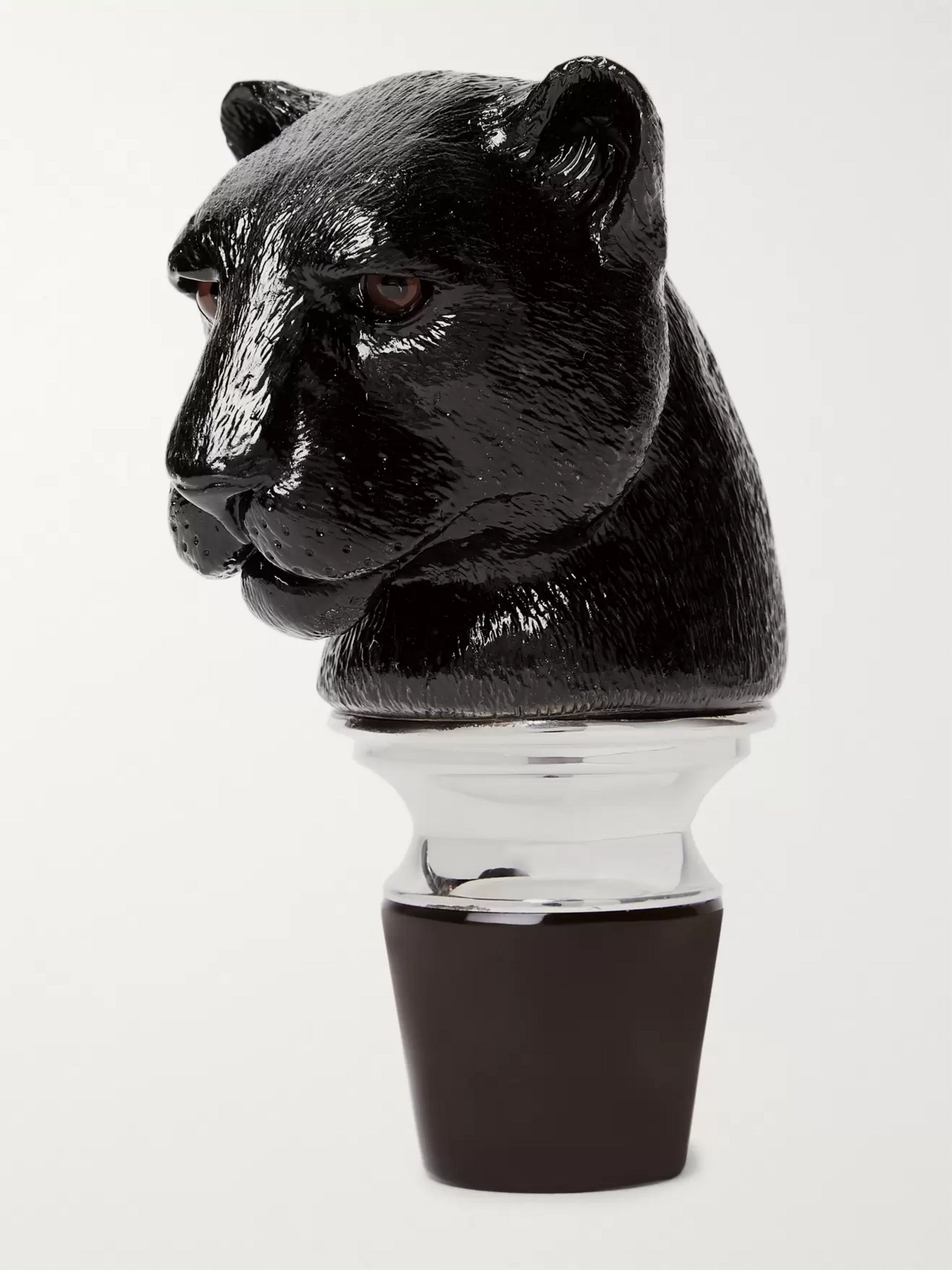 Asprey Panther Sterling Silver and Crystal Decanter