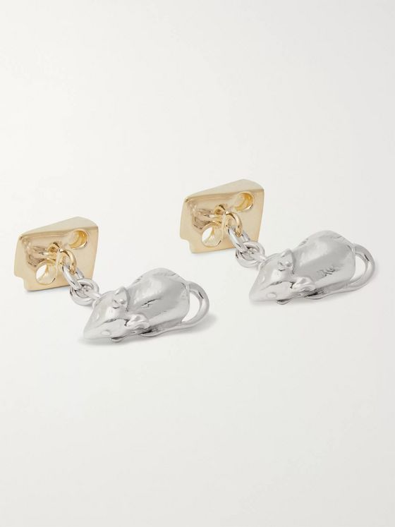 Asprey Mouse and Cheese Gold-Gilded Sterling Silver Cufflinks