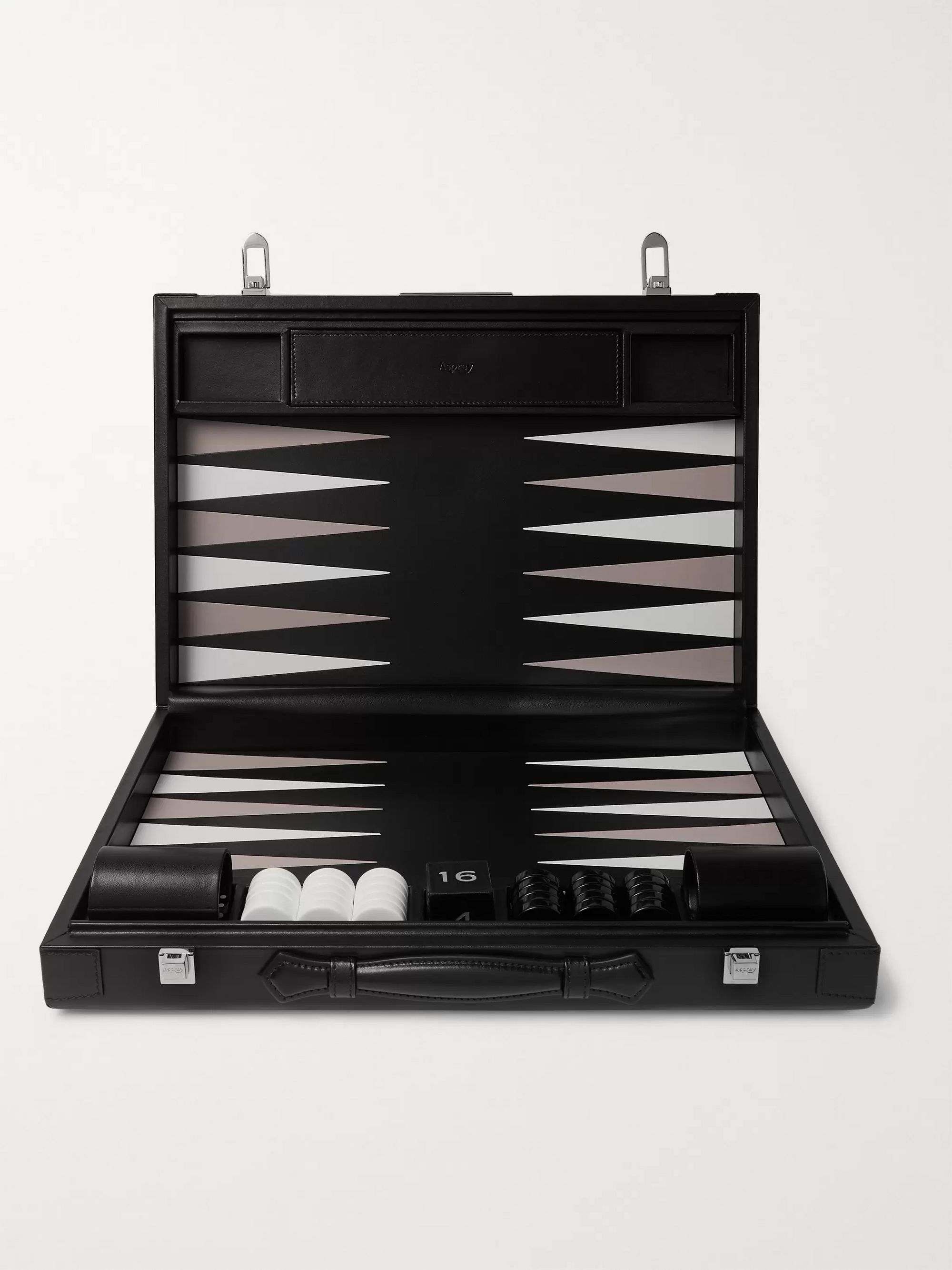 Asprey Hanover Leather Backgammon Set