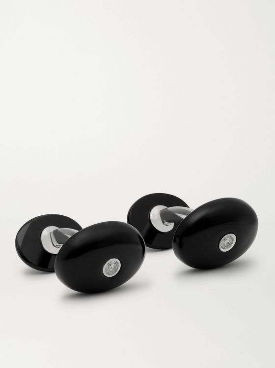 Asprey Sterling Silver, Onyx and Diamond Cufflinks