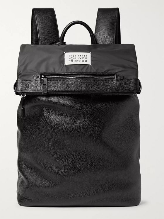 Maison Margiela Nylon-Trimmed Full-Grain Leather Backpack
