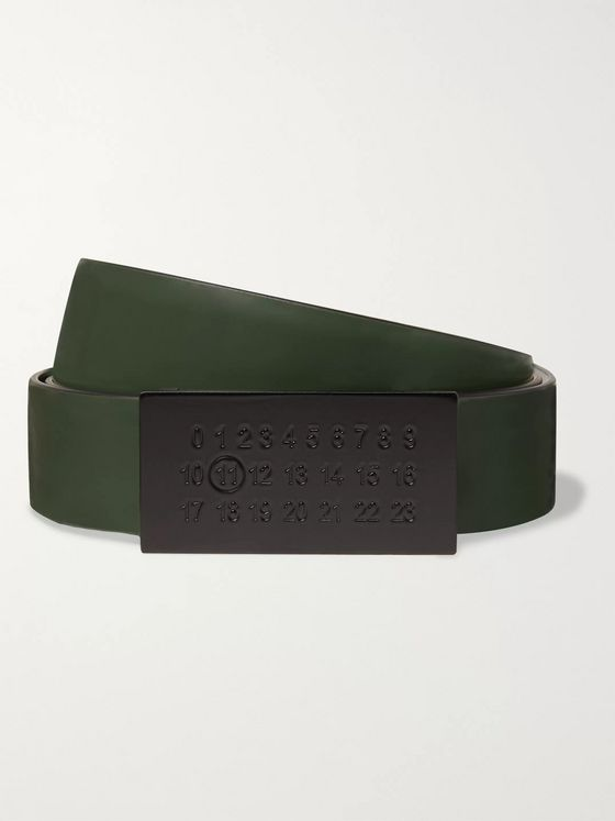 Maison Margiela 3cm Dark-Green and Black Reversible Leather Belt