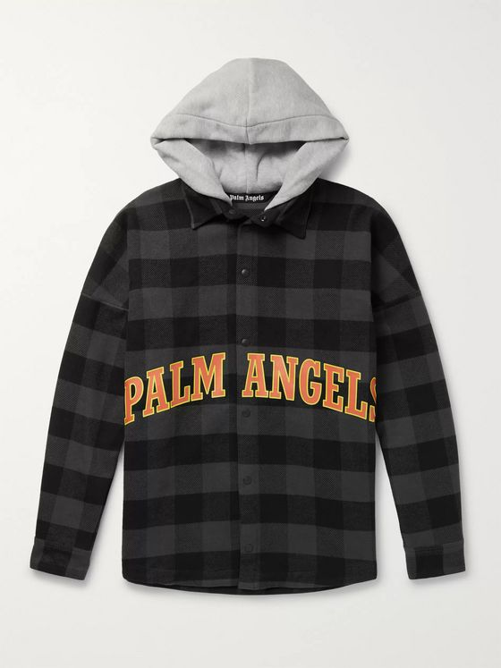 Palm Angels Oversized Logo-Print Checked Cotton-Blend Flannel Hooded Overshirt