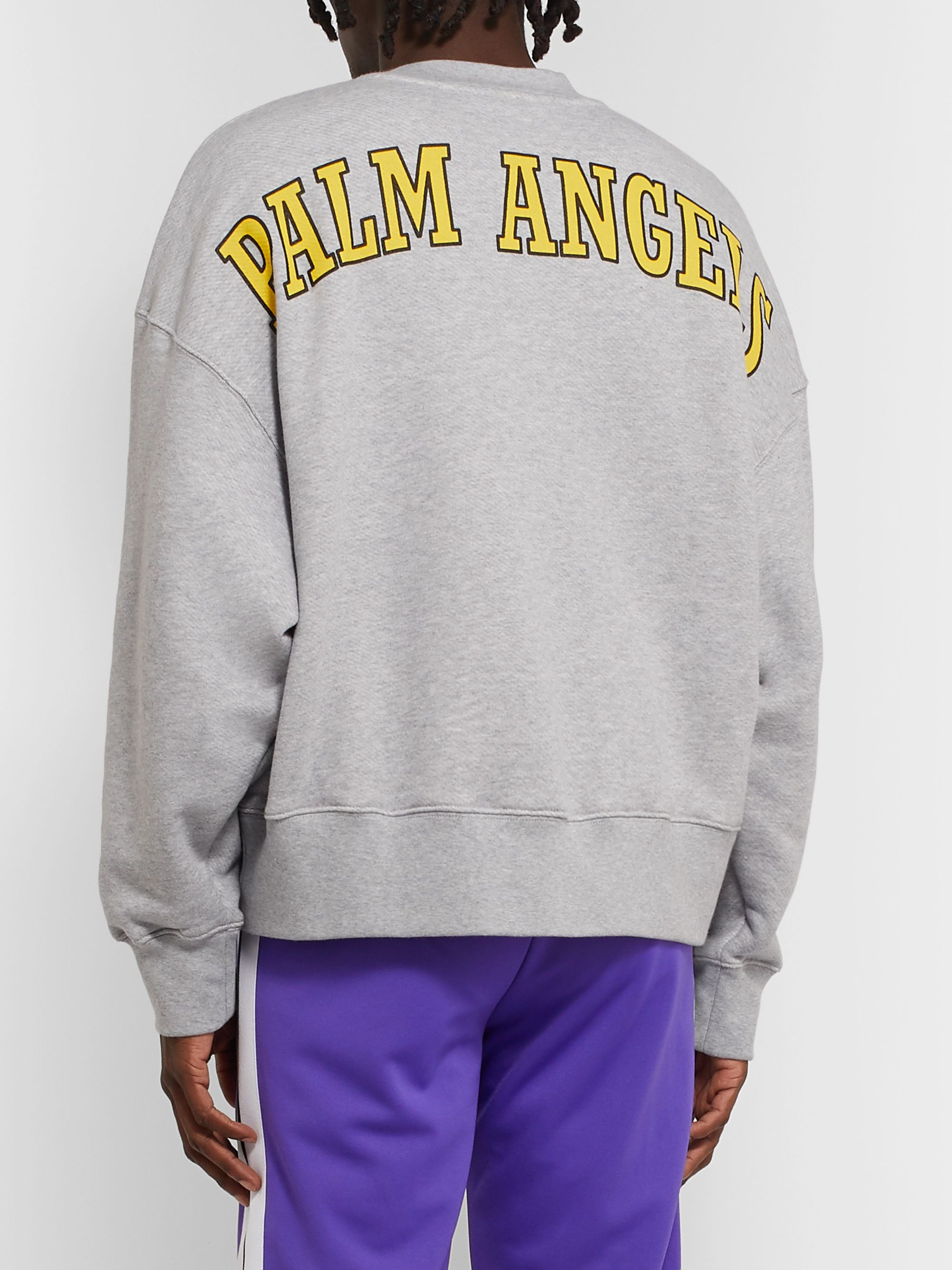 Palm Angels Oversized Appliquéd Logo-Print Loopback Cotton-Jersey Sweatshirt
