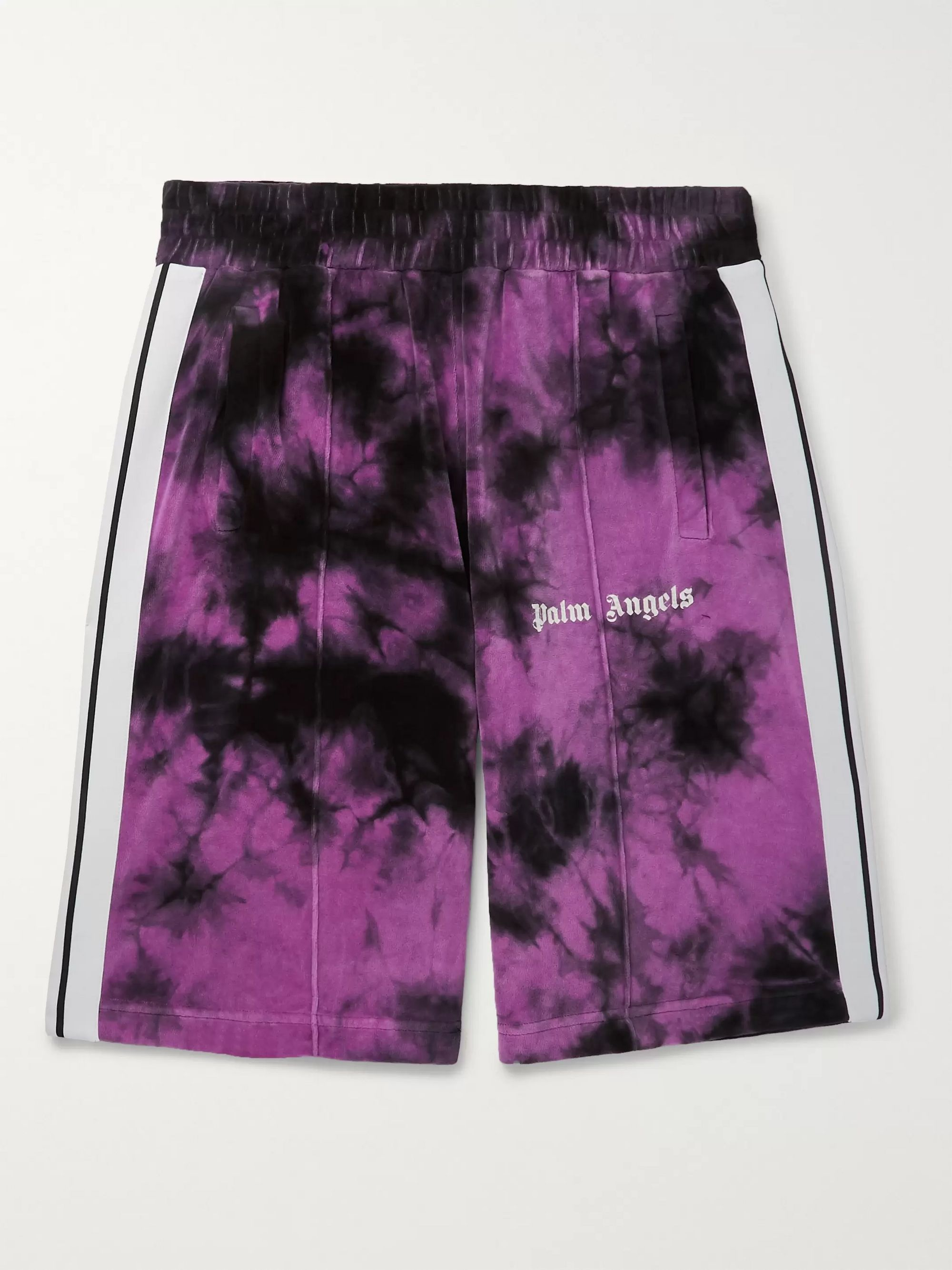 Palm Angels Striped Tie-Dyed Cotton-Blend Velour Shorts
