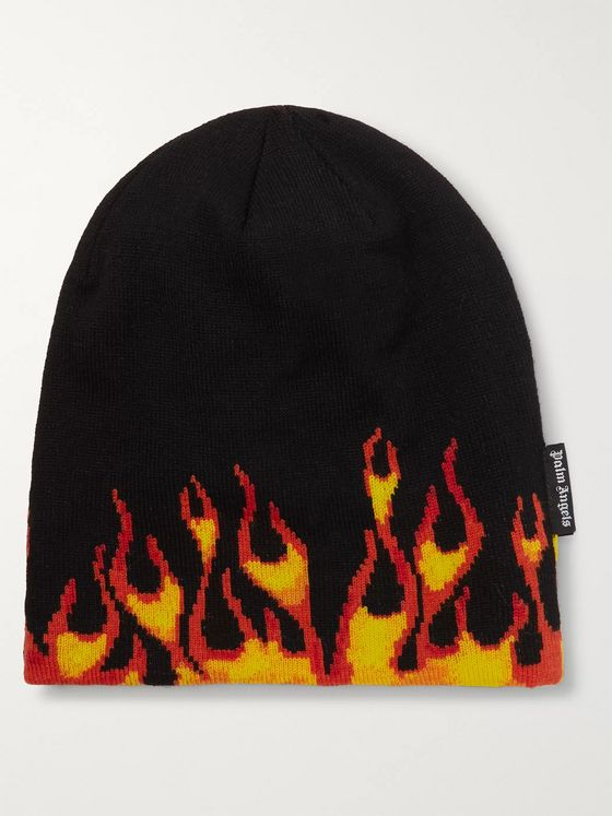 Palm Angels Intarsia Stretch-Wool Beanie