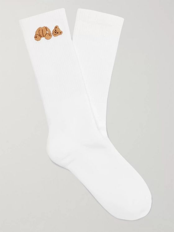 Palm Angels Embroidered Cotton Socks