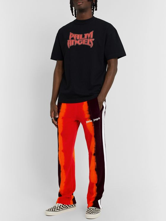Palm Angels Tapered Striped Tie-Dyed Cotton-Blend Velour Track Pants