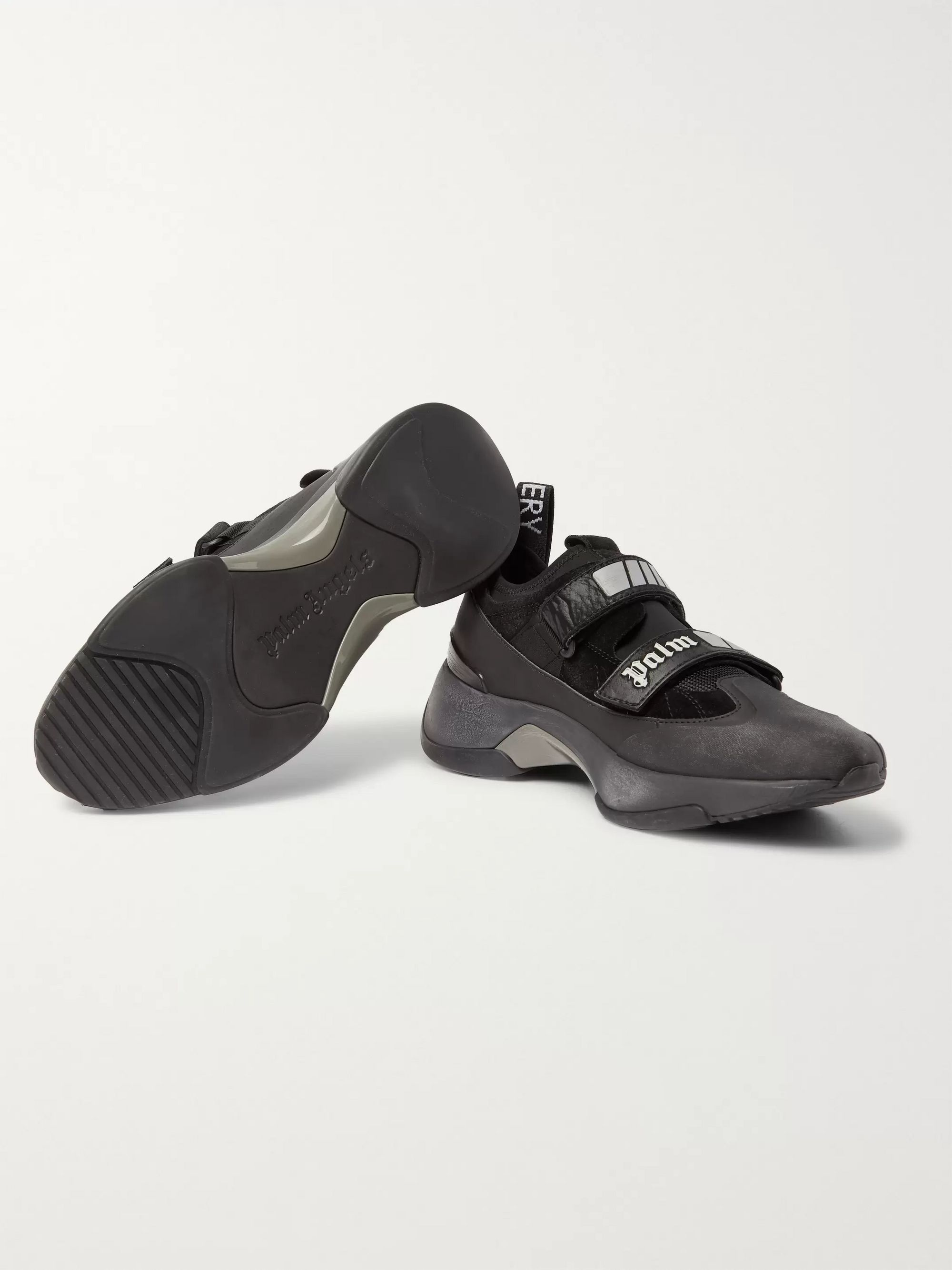 Palm Angels Recovery Leather, Suede And Mesh Sneakers