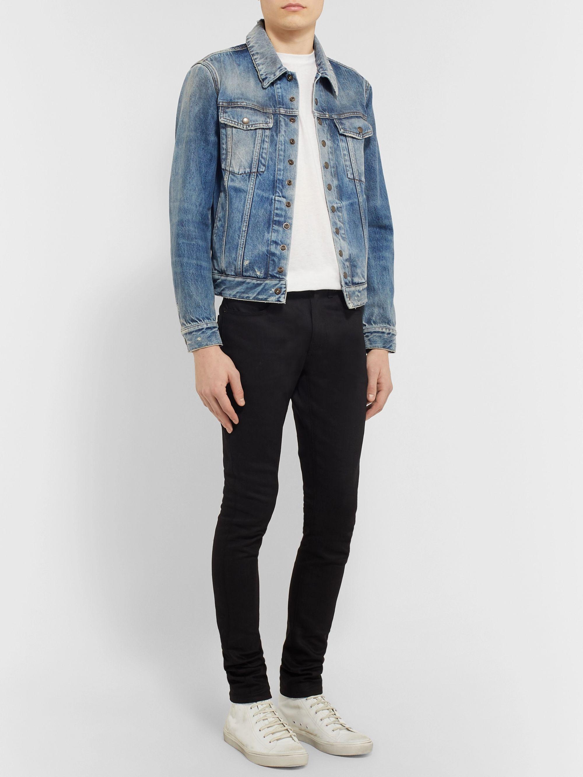 Slim Fit Distressed Denim Jacket