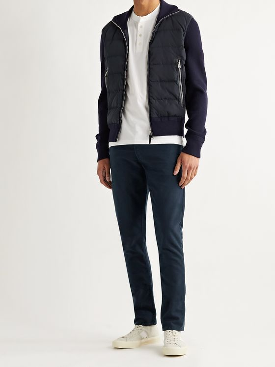 TOM FORD Slim-Fit Panelled Ribbed Wool and Quilted Shell Down Jacket