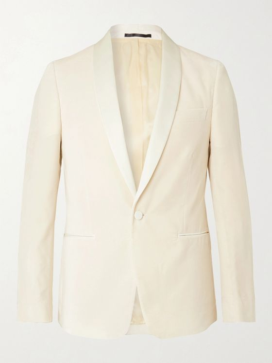 Paul Smith Cream Soho Slim-Fit Satin-Trimmed Velvet Tuxedo Jacket
