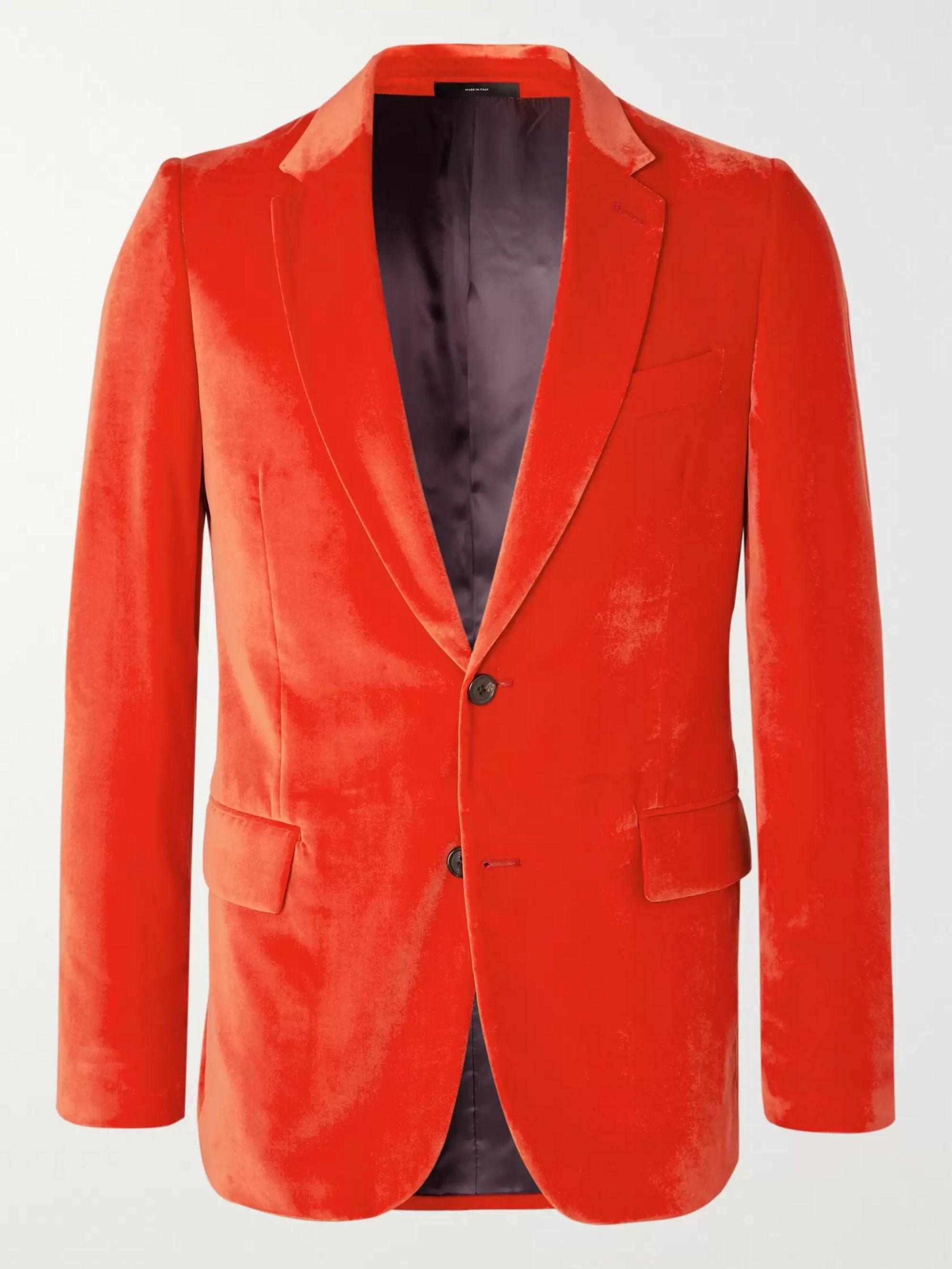Red Soho Slim Fit Velvet Tuxedo Jacket