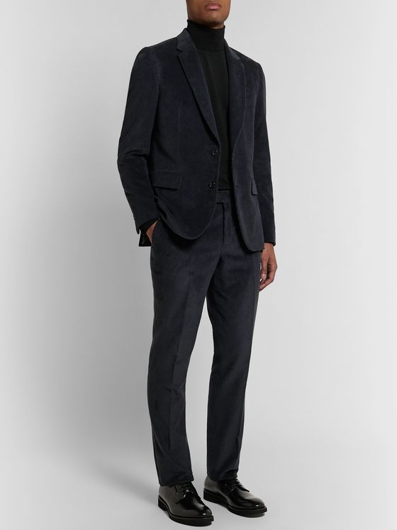 PAUL SMITH Midnight-Blue Soho Slim-Fit Cotton and Cashmere-Blend Corduroy Suit Trousers