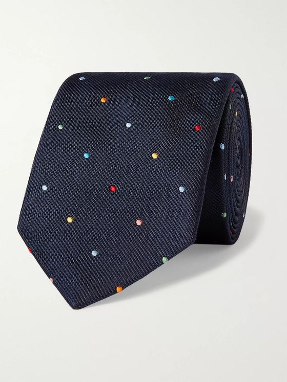 Paul Smith 8cm Polka-Dot Embroidered Silk-Twill Tie