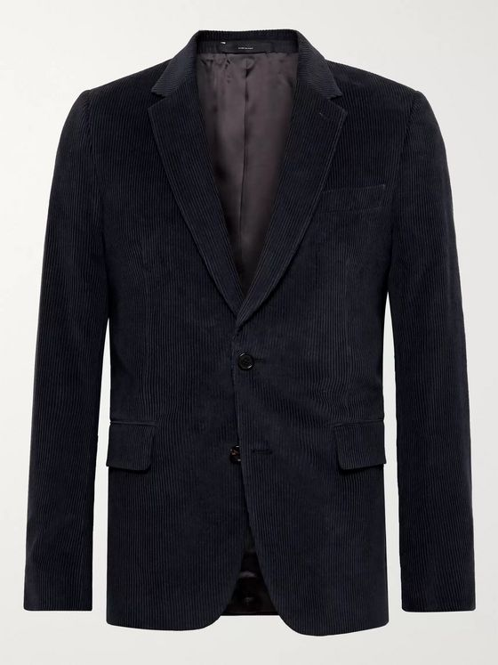 PAUL SMITH Midnight-Blue Soho Slim-Fit Cotton and Cashmere-Blend Corduroy Suit Jacket