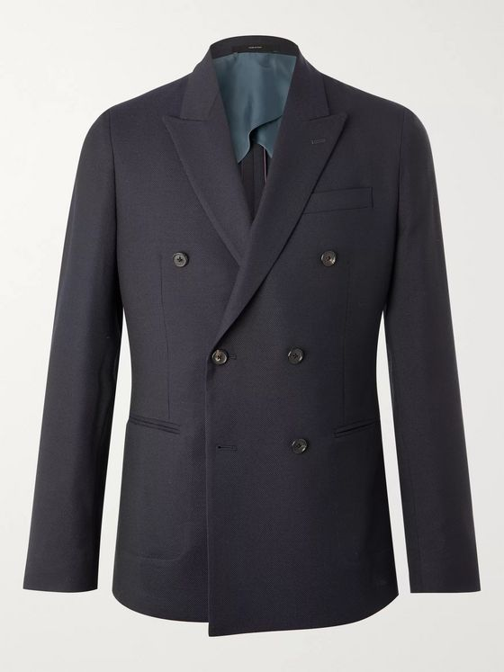 Paul Smith Kensington Slim-Fit Double-Breasted Wool-Piqué Blazer