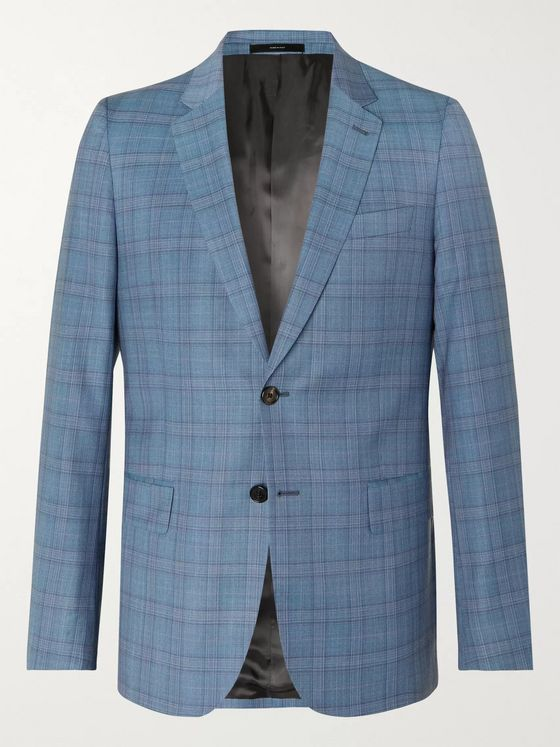 Paul Smith Blue Soho Slim-Fit Prince of Wales Checked Wool Suit Jacket