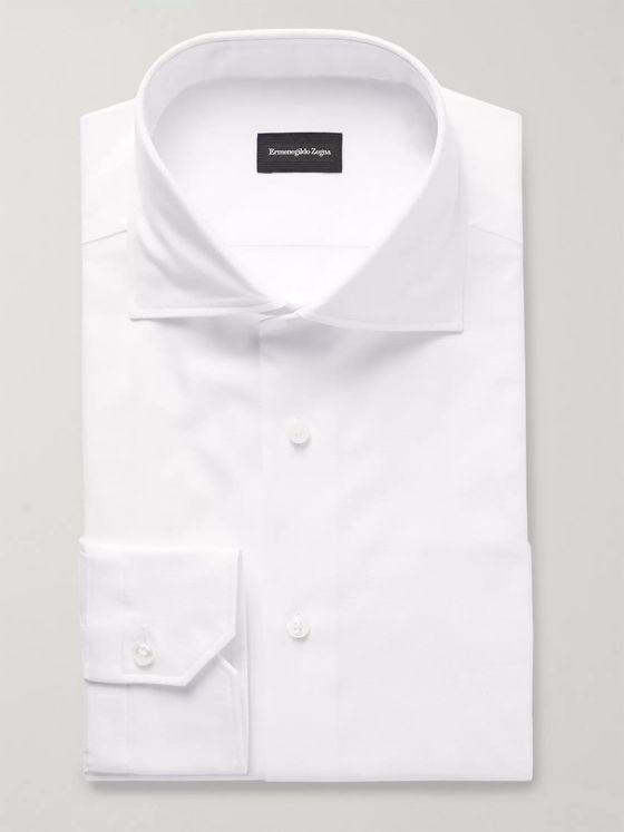 ERMENEGILDO ZEGNA White Slim-Fit Cutaway-Collar Cotton-Piqué Shirt