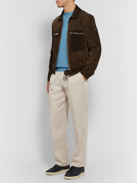 Ermenegildo Zegna Tapered Pleated Garment-Dyed Cotton-Blend Twill Trousers