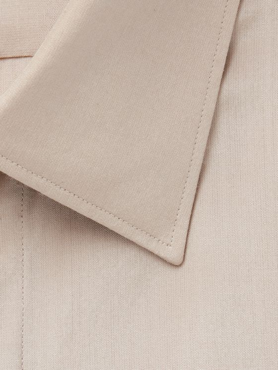 Ermenegildo Zegna Beige City Slim-Fit Silk and Cotton-Blend Shirt