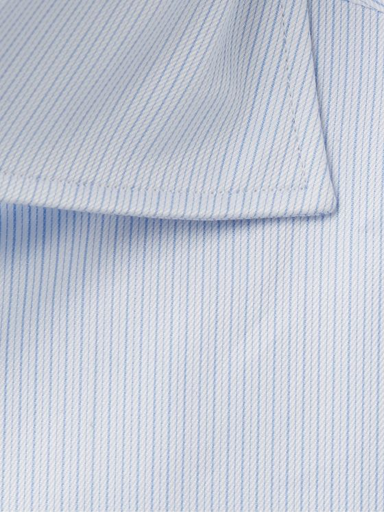 ERMENEGILDO ZEGNA Light-Blue Slim-Fit Cutaway-Collar Striped Cotton-Poplin Shirt