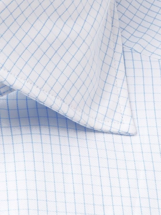 Ermenegildo Zegna Light-Blue Cutaway-Collar Checked Cotton-Poplin Shirt