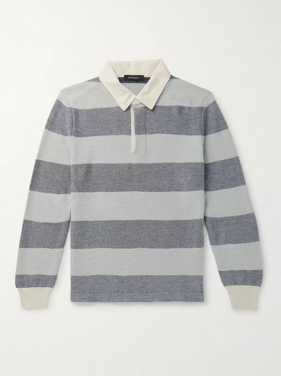 Ermenegildo Zegna Striped Cotton, Cashmere and Silk-Blend Polo Shirt