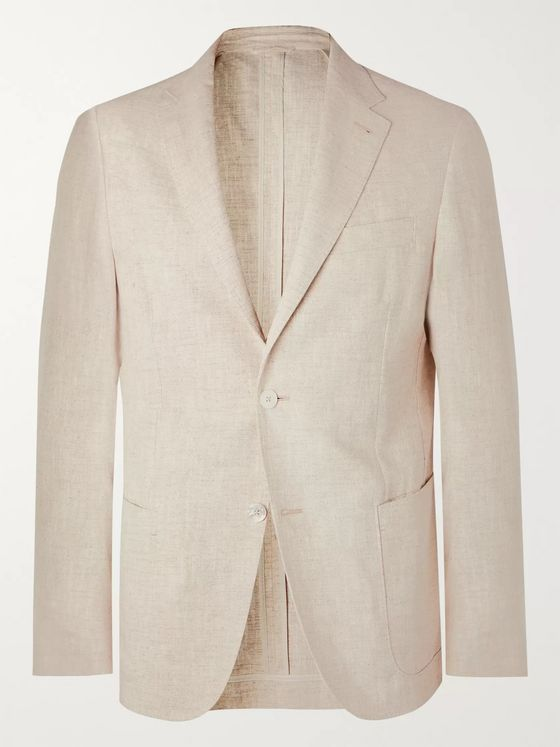 Ermenegildo Zegna Beige Unstructured Silk and Linen-Blend Blazer