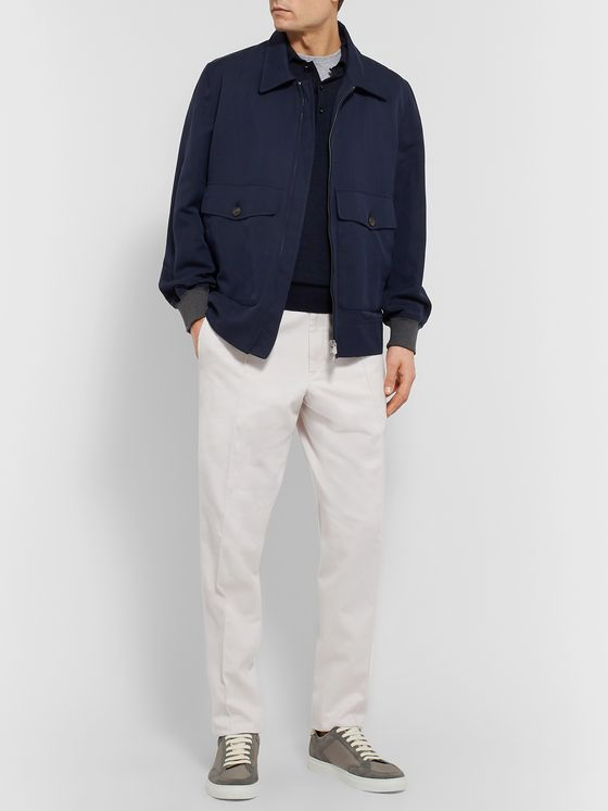 Ermenegildo Zegna Tapered Cotton-Drill Drawstring Trousers