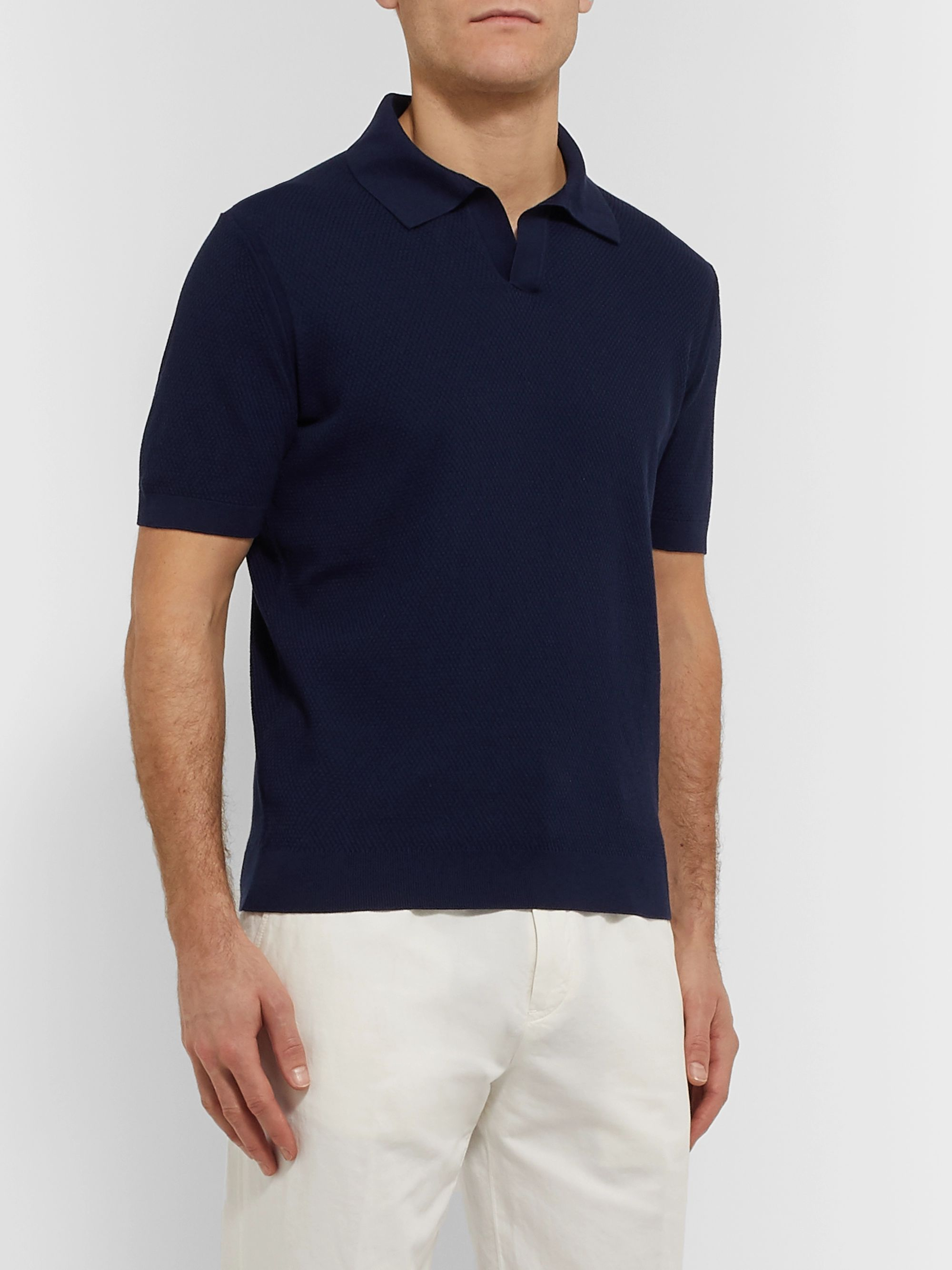 Ermenegildo Zegna Textured-Cotton Polo Shirt