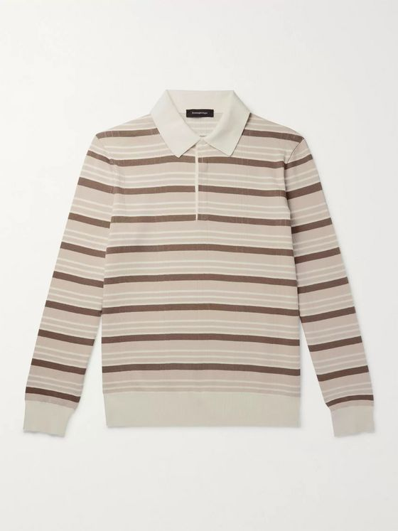 Ermenegildo Zegna Striped Cotton and Silk-Blend Polo Shirt
