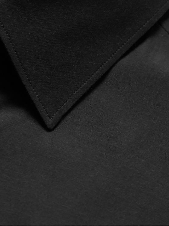 ERMENEGILDO ZEGNA Black City Silk And Cotton-Blend Poplin Shirt