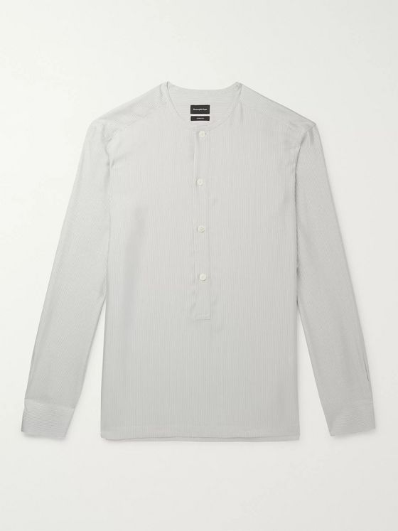 Ermenegildo Zegna Grandad-Collar Pinstriped Silk Half-Placket Shirt