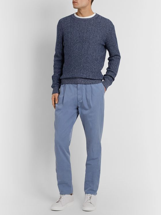 Ermenegildo Zegna Cable-Knit Mélange Cashmere and Cotton-Blend Sweater