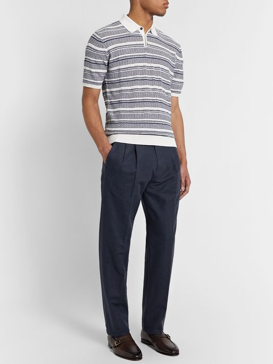 Ermenegildo Zegna Navy Pleated Cotton and Linen-Blend Trousers